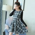 Plaid Mock Two-piece Long-Sleeve Dress 1596