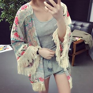 fringed-floral-print-chiffon-cape