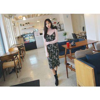 Floral Ribbed Midi Pinafore Dress 1056923643