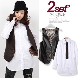 Buy Daily Pink Set: Faux-Leather Vest + Shirt (2 Designs) 1022509929