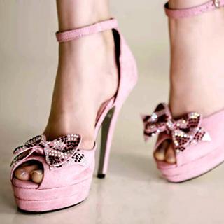 """Buy Kvoll Genuine Suede """"Bow"""" Platform High Heels 1022653514"""