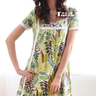 Buy TAIPEI STAR Lace-Trim Printed Dress 1022717440