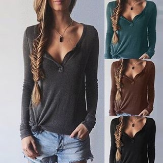 V-neck Ribbed Knit Top 1049467687