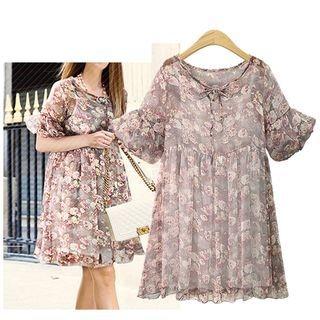 Set: Floral Print Short-Sleeve A-Line Dress + Strappy Dress 1061279370