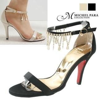Picture of MICHEL PARA COLLECTION Bejeweled Ankle Strap Satin Sandals 1023037148 (Sandals, MICHEL PARA COLLECTION Shoes, Korea Shoes, Womens Shoes, Womens Sandals)