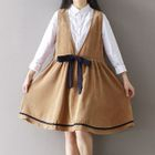 Corduroy Bow Accent Pinafore Dress 1596