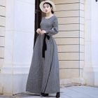 Long-Sleeve Tie-Waist Maxi Dress 1596