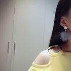 Faux Pearl Pompom Earrings 1596