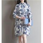 Set: Elbow-Sleeve Floral A-Line Dress + Slipdress 1596