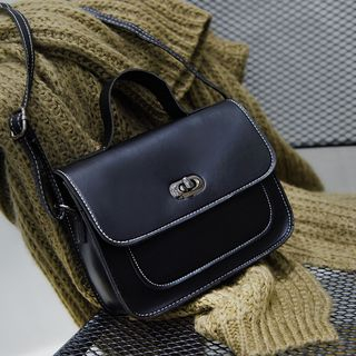 Twist Lock Faux Leather Crossbody Bag