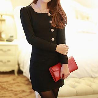 Long-Sleeve Button Detail Sheath Dress 1038896478