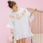 Embroidered Elbow-Sleeve Dress 1596