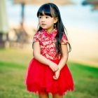 Kids Floral Print Mandarin Collar Short Sleeve Tutu Dress 1596