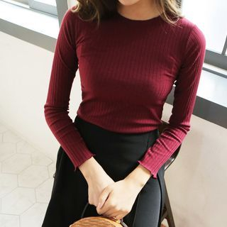Frilled-Edge Round-Neck Long-Sleeve Ribbed Knit Top 1062135324