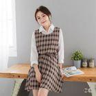 Sleeveless Check A-Line Dress 1596