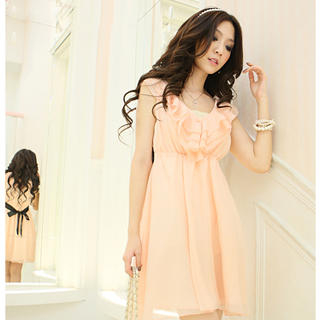 Buy Tokyo Fashion Sleeveless Tie-Back Ruffle Chiffon Dress 1022972698