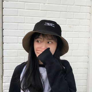 Image of Embroidered Lettering Bucket Hat Black & Khaki - One Size