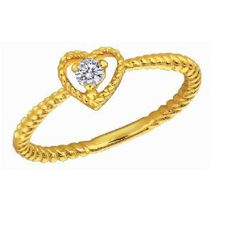 18K Yellow Gold Heart Twisted Band Stackable Engagement Wedding Women Ring thumbnail