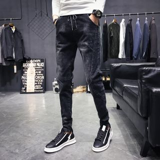 Image of Drawstring Cropped Skinny Jeans
