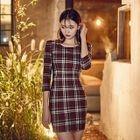 3/4-Sleeve Plaid Mini Sheath Dress 1596