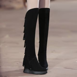 Fringed Hidden Wedge Tall Boots