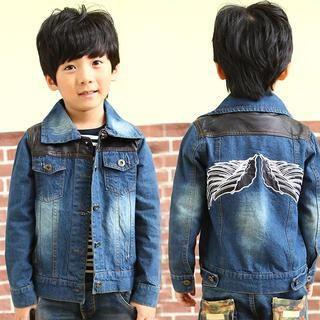 Kids Faux Leather Panel Denim Jacket 1040363717