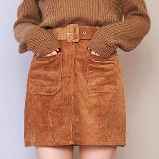 Corduroy A-Line Mini Skirt with Belt