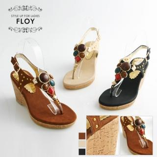Buy FLOY SHOES Rhinestone Thong Wedge Sandals 1023053886