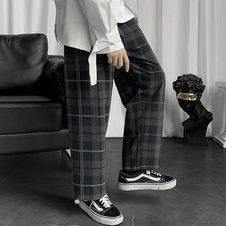 Drawstring-cuff Plaid Wide-leg Pants