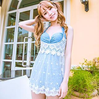 Set: Dotted Swimsuit + Lace Cover-Up 1038286523