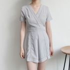 Short-Sleeve V-Neck Playsuit 1596