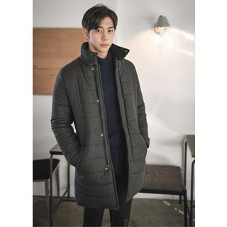 High-Neck Padded Wool Blend Coat - United states