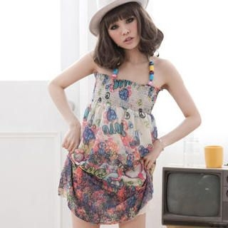Picture of ZOO Bead-Strap Printed Halter Sundress 1022980292 (ZOO Dresses, Womens Dresses, Taiwan Dresses, Sundresses)