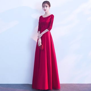 Image of 3/4-Sleeve Applique Prom Dress / Evening Gown