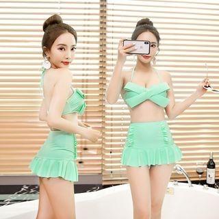 Set Of 2: Bow-Accent Bikini Top + Swim Skirt 1066790259