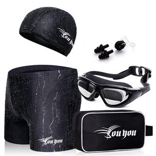 Set: Swim Shorts + Swim Cap + Swim Goggles + Ear Plugs + Nose Clip + Pouch 1059583222