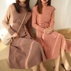 Long-Sleeve Tie-Waist Knit Midi Dress 1596