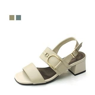 Image of Genuine Leather Buckle-Trim Sandals