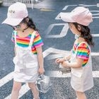 Kids Set: Striped Short-Sleeve T-Shirt + Pinafore Dress 1596