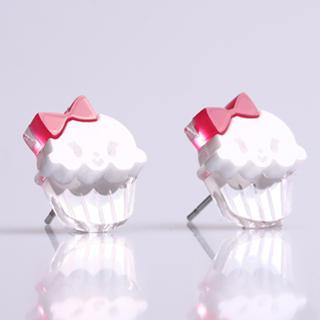 Miss Cupcake White Stud Silver Earrings