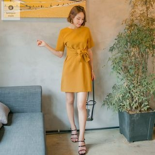 Short-Sleeve Tie-Waist Mini Dress 1060919046