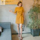Short-Sleeve Tie-Waist Mini Dress 1596