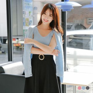 Set: Pearled Button Ribbed Knit Cardigan + Tank Top 1056679297