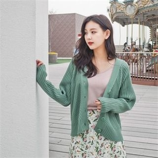 V-Neck Ribbed Cardigan 1058202261