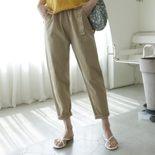Image of Band-Waist Button-Detail Pants