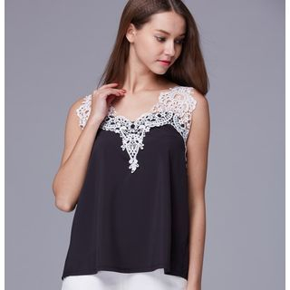 Lace Panel Sleeveless Top 1050903758
