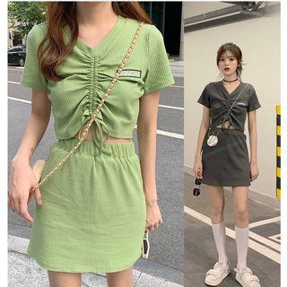 Image of Set: Letter Embroidered Drawstring Short-Sleeve T-Shirt + Mini A-Line Skirt