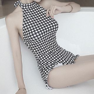 Houndstooth Halter Swimsuit 1051020447