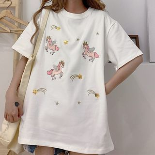 Image of Cartoon Embroidered Sequined Short-Sleeve T-Shirt