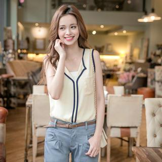 Open-Placket Piped Sleeveless Top